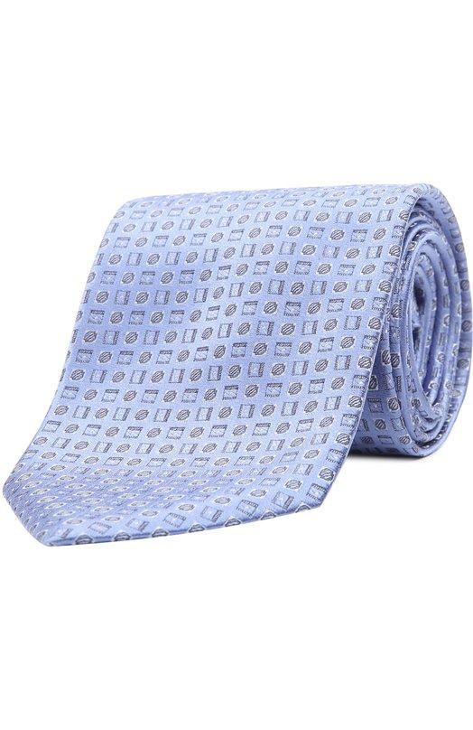 Шелковый галстук с узором BrioniГалстуки<br><br><br>Пол: Мужской<br>Возраст: Взрослый<br>Размер производителя vendor: NS<br>Материал: Шелк: 100%;<br>Цвет: Голубой
