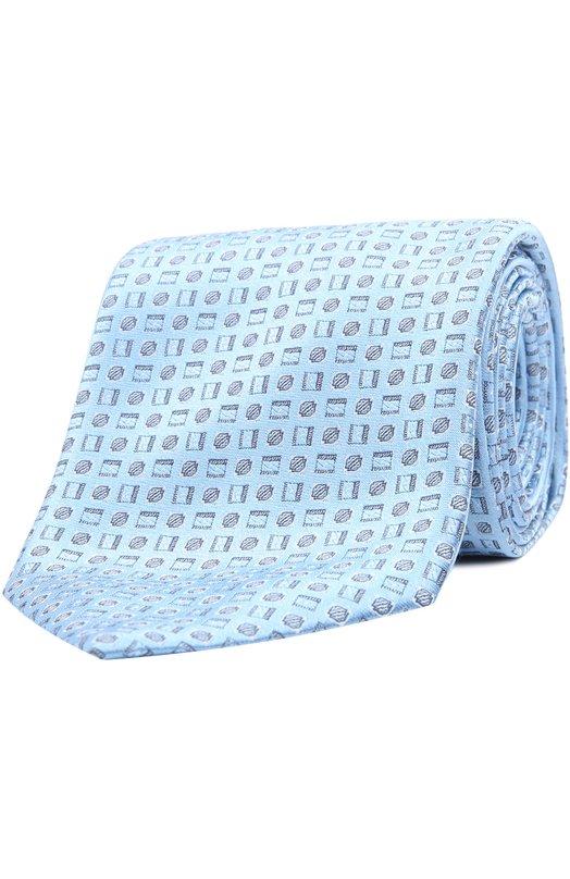 Шелковый галстук с узором BrioniГалстуки<br><br><br>Пол: Мужской<br>Возраст: Взрослый<br>Размер производителя vendor: NS<br>Материал: Шелк: 100%;<br>Цвет: Светло-голубой
