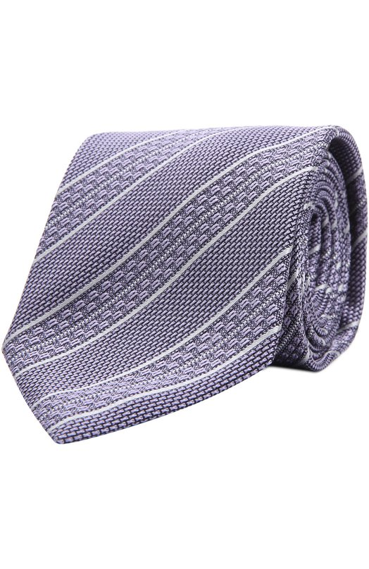 Шелковый галстук в полоску BrioniГалстуки<br><br><br>Пол: Мужской<br>Возраст: Взрослый<br>Размер производителя vendor: NS<br>Материал: Шелк: 100%;<br>Цвет: Светло-сиреневый