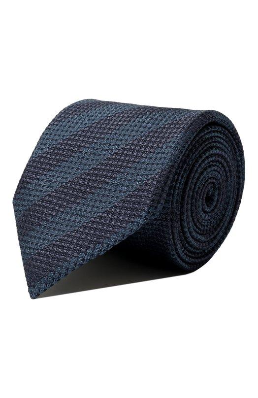Шелковый галстук в полоску BrioniГалстуки<br><br><br>Пол: Мужской<br>Возраст: Взрослый<br>Размер производителя vendor: NS<br>Материал: Шелк: 100%;<br>Цвет: Синий