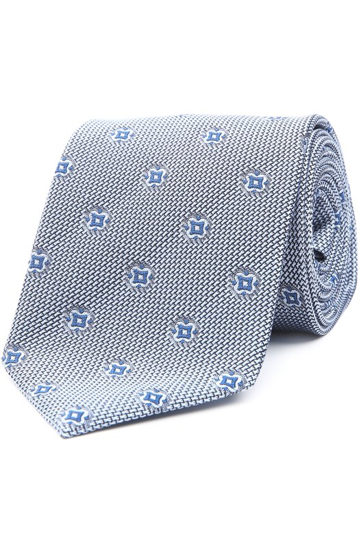 Купить Шелковый галстук с узором Brioni, 063I/P4466, Италия, Голубой, Шелк: 100%;