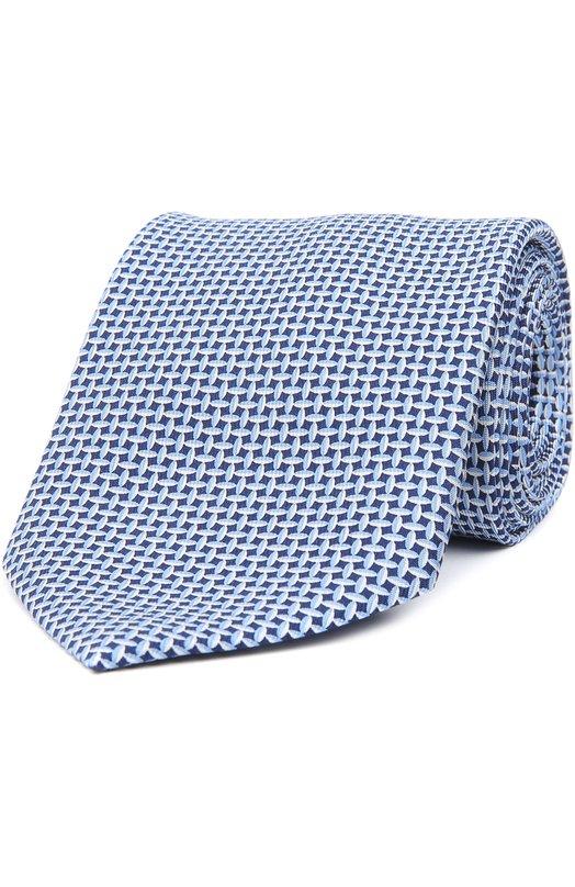 Купить Шелковый галстук с узором Brioni, 063I/P441P, Италия, Голубой, Шелк: 100%;