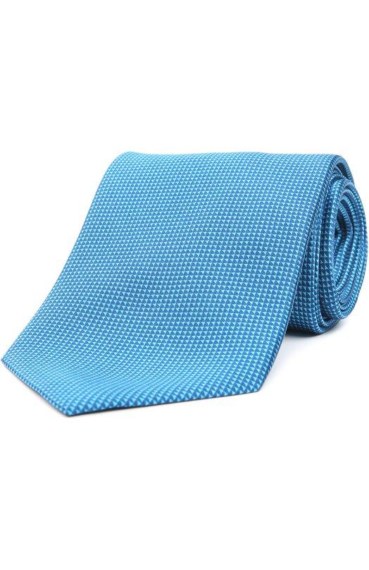 Шелковый галстук с узором BrioniГалстуки<br><br><br>Пол: Мужской<br>Возраст: Взрослый<br>Размер производителя vendor: NS<br>Материал: Шелк: 100%;<br>Цвет: Бирюзовый