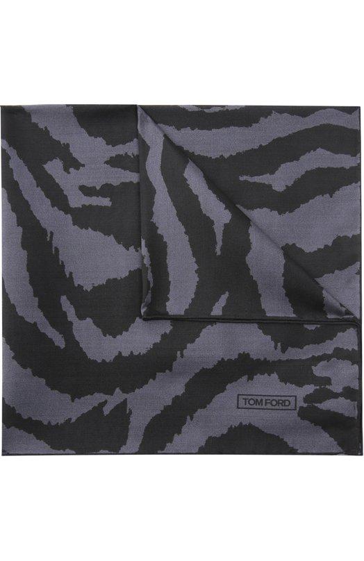 Купить Шелковый платок с анималистичным принтом Tom Ford, TFB12TF312, Италия, Темно-серый, Шелк: 100%;