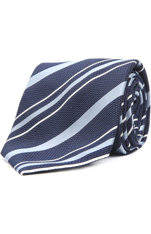 Купить Шелковый галстук в полоску Brioni, 063I/P44EW, Италия, Темно-синий, Шелк: 100%;
