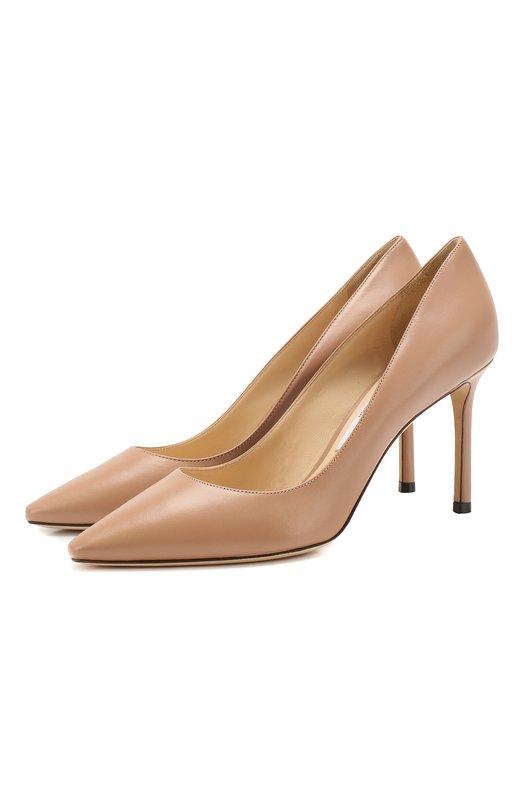 Купить Кожаные туфли Romy 85 Jimmy Choo, R0MY 85/KID, Италия, Светло-розовый, Кожа натуральная: 100%; Стелька-кожа: 100%; Подошва-кожа: 100%; Подкладка-кожа: 100%; Кожа: 100%; Низ-кожа: 100%;