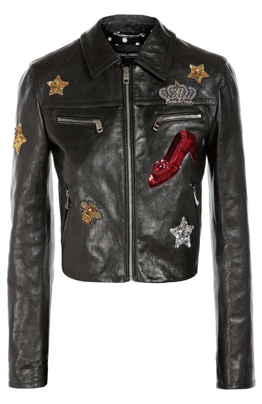 Кожаная куртка с отложным воротником и контрастной вышивкой Dolce & Gabbana 0102/F9839Z/FUL7L