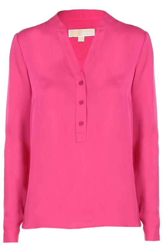 Шелковая блуза прямого кроя с V-образным вырезом Michael Michael KorsБлузы<br>Майкл Корс включил блузу с длинными рукавами, V-образным вырезом в коллекцию сезона осень-зима 2016 года. Для производства модели прямого кроя использован мягкий шелк розового цвета. На спинке — широкие встречные складки.<br><br>Российский размер RU: 42<br>Пол: Женский<br>Возраст: Взрослый<br>Размер производителя vendor: S<br>Материал: Шелк: 100%;<br>Цвет: Розовый
