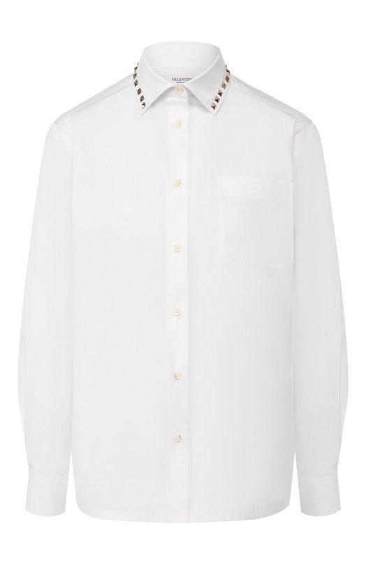 Блуза прямого кроя с накладным карманом и заклепками ValentinoБлузы<br>Белая рубашка из линии Rockstud Untitled, вдохновленной японской философией Ваби-саби, вошла в осенне-зимнюю коллекцию марки, основанной Валентино Гаравани. Отложной воротник украшен шипами-пирамидами. Для создания модели прямого кроя, с длинными рукавами использован мягкий хлопковый поплин.<br><br>Российский размер RU: 44<br>Пол: Женский<br>Возраст: Взрослый<br>Размер производителя vendor: 42<br>Материал: Хлопок: 100%;<br>Цвет: Белый