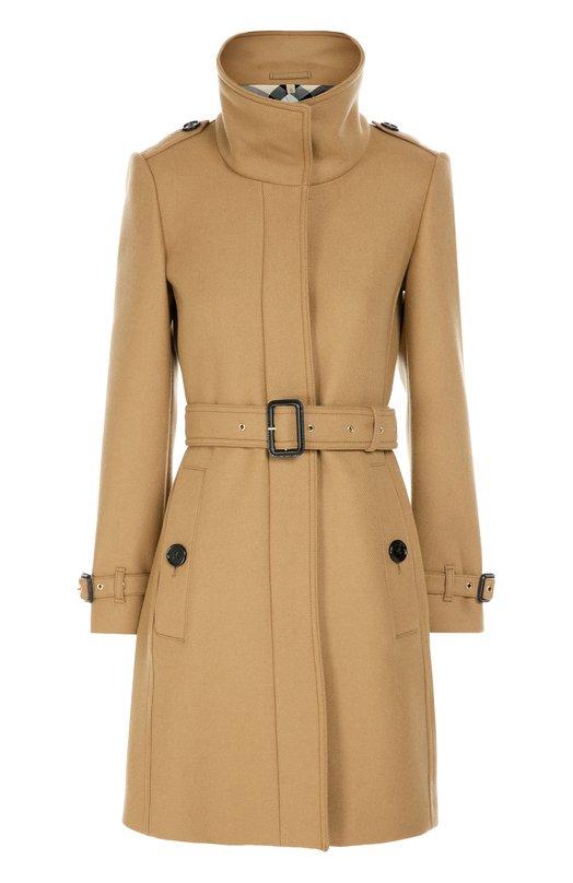 Пальто прямого кроя с поясом и высоким воротником Burberry 4017246