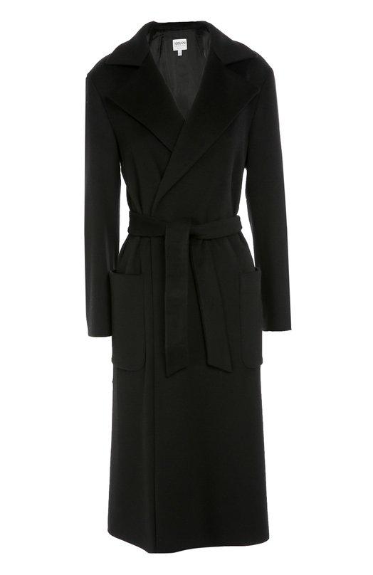 Удлиненное пальто с поясом и широкими лацканами Armani Collezioni UML27T/UM650