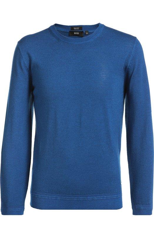 Джемпер с круглым вырезом из смеси шерсти и шелка BOSSСвитеры<br>В осенне-зимнюю коллекцию марки, основанной Хуго Фердинандом Боссом, вошел ярко-синий пуловер с длинными рукавами и круглой горловиной. Для создания модели был использован мягкий шерстяной трикотаж с добавлением волокон шелка, предотвращающих появление катышек.<br><br>Российский размер RU: 54<br>Пол: Мужской<br>Возраст: Взрослый<br>Размер производителя vendor: XXL<br>Материал: Шерсть: 80%; Шелк: 20%;<br>Цвет: Синий