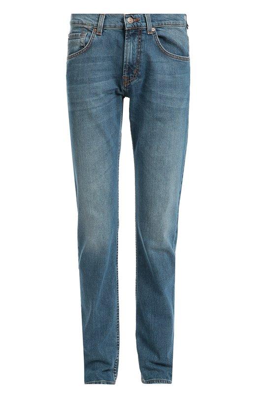 Джинсы прямого кроя с потертостями 7 For All MankindДжинсы<br>Синие джинсы The Straight Imperial Avenue вошли в осенне-зимнюю коллекцию 2016 года. Для создания модели использован плотный хлопок с добавлением эластановых нитей. Нам нравится носить с серым пальто, бежевой водолазкой и коричневыми брогами.<br><br>Российский размер RU: 50<br>Пол: Мужской<br>Возраст: Взрослый<br>Размер производителя vendor: 34<br>Материал: Хлопок: 99%; Эластан: 1%;<br>Цвет: Синий