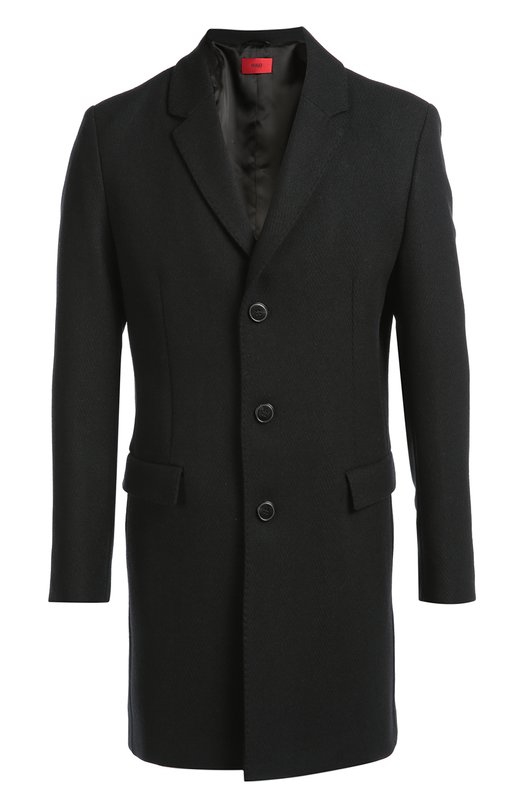Однобортное пальто с добавлением шерсти HUGO 50296656