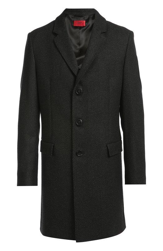 Однобортное пальто с добавлением шерсти HUGOПальто и плащи<br>Для производства серого пальто Migor из осенне-зимней коллекции 2016 года использована плотная полушерстяная ткань. Модель с широкими лацканами, дополненная двумя боковыми карманами с клапанами, застегивается на три пуговицы.<br><br>Российский размер RU: 48<br>Пол: Мужской<br>Возраст: Взрослый<br>Размер производителя vendor: 48<br>Материал: Шерсть: 70%; Полиэстер: 20%; Полиамид: 10%; Подкладка- Вискоза: 100%;<br>Цвет: Серый