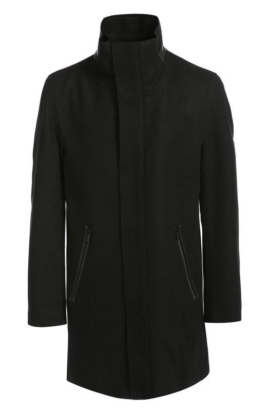 Шерстяное пальто свободного кроя с воротником-стойкой HUGO 50320473