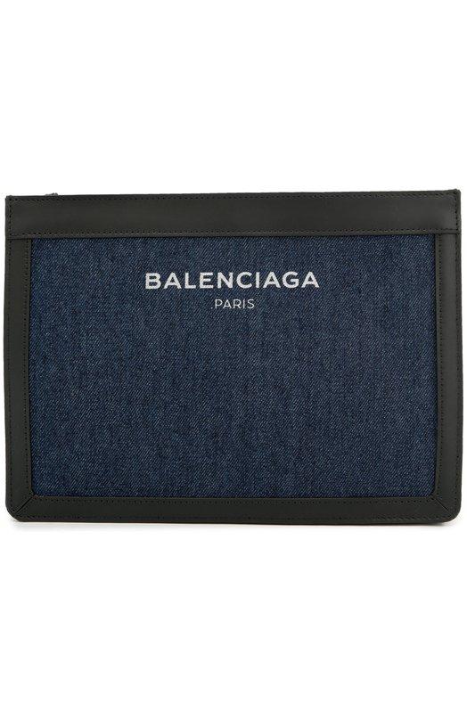 Клатч из денима с кожаной отделкой Balenciaga 339937/K221N