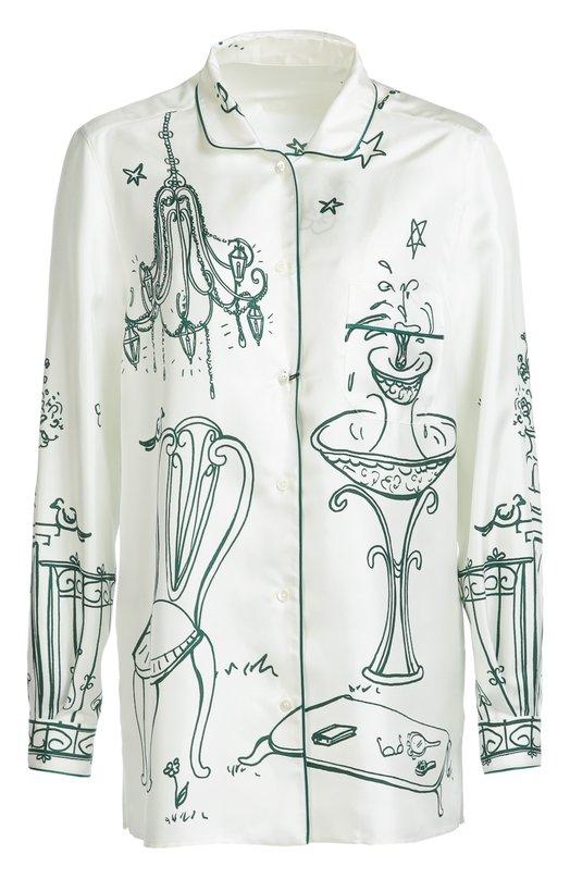 Шелковая блуза в пижамном стиле с контрастным принтом Dolce &amp; GabbanaБлузы<br>Доменико Дольче и Стефано Габбана выбрали для производства белой рубашки гладкий плотный шелк с контрастным принтом Victorian Garden, характерным для осенне-зимней коллекции 2016 года. Модель в пижамном стиле отделана кантом в тон рисунку. Нам нравится сочетать с синими брюками, бордовыми сабо и розовой сумкой.<br><br>Российский размер RU: 44<br>Пол: Женский<br>Возраст: Взрослый<br>Размер производителя vendor: 42<br>Материал: Шелк: 100%;<br>Цвет: Белый