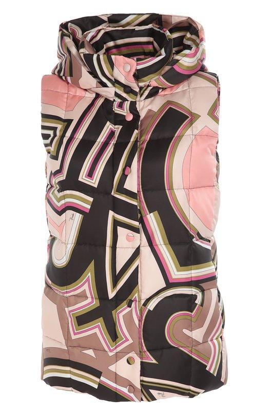 Стеганый жилет с ярким принтом и капюшоном Emilio Pucci 66/YC16/66751