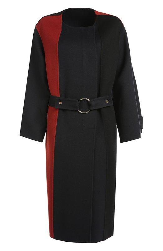 Пальто прямого кроя с круглым вырезом и контрастными вставками Marni CPMAU14CKQTW753