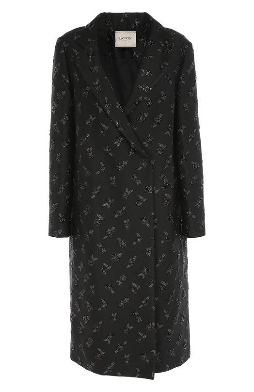 Купить Пальто прямого кроя с цветочной отделкой Lanvin, RW-C01018-3211-A16, Италия, Черный, Полиэстер: 74%; Подкладка-вискоза: 52%; Подкладка-хлопок: 48%; Шелк: 15%; Полиамид: 11%;