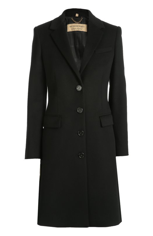 Шерстяное пальто прямого кроя BurberryПальто и плащи<br>Приталенное черное пальто изготовлено из плотной ткани на основе мягкой шерсти с добавлением нежного кашемира. Изделие с глубоким V-образным вырезом и двумя боковыми карманами с клапанами вошло в осенне-зимнюю коллекцию марки, основанной Томасом Берберри.<br><br>Российский размер RU: 42<br>Пол: Женский<br>Возраст: Взрослый<br>Размер производителя vendor: 8<br>Материал: Шерсть: 80%; Подкладка-вискоза: 50%; Подкладка-ацетат: 50%; Кашемир: 20%;<br>Цвет: Черный
