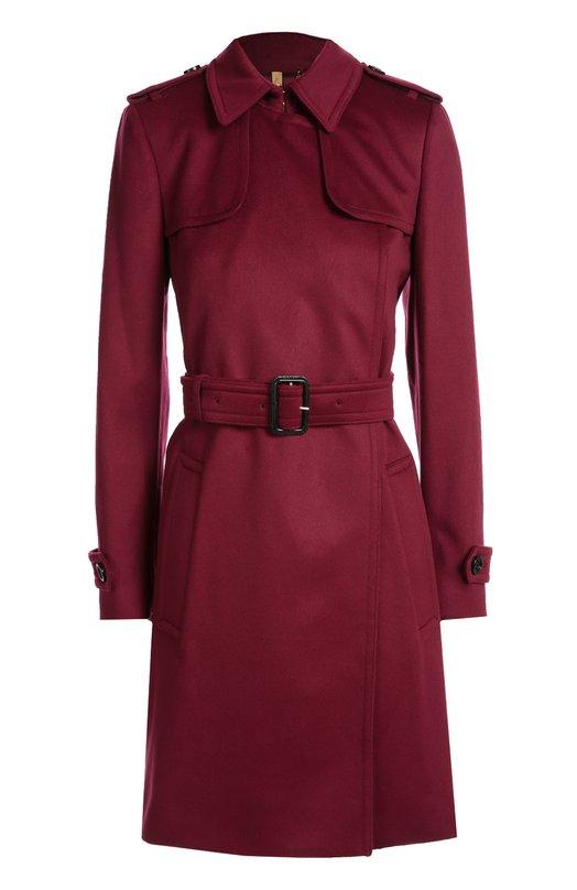 Кашемировое пальто с поясом и широкими лацканами BurberryПальто и плащи<br>Мастера марки, основанной Томасом Берберри, сшили пальто без застежки из мягкого кашемира бордового цвета. Модель, стилизованная под знаковый для бренда тренч, вошла в коллекцию сезона осень-зима 2016 года. Наши стилисты рекомендуют носить с топом, брюками и дерби черного цвета.<br><br>Российский размер RU: 50<br>Пол: Женский<br>Возраст: Взрослый<br>Размер производителя vendor: 16<br>Материал: Кашемир: 100%;<br>Цвет: Розовый