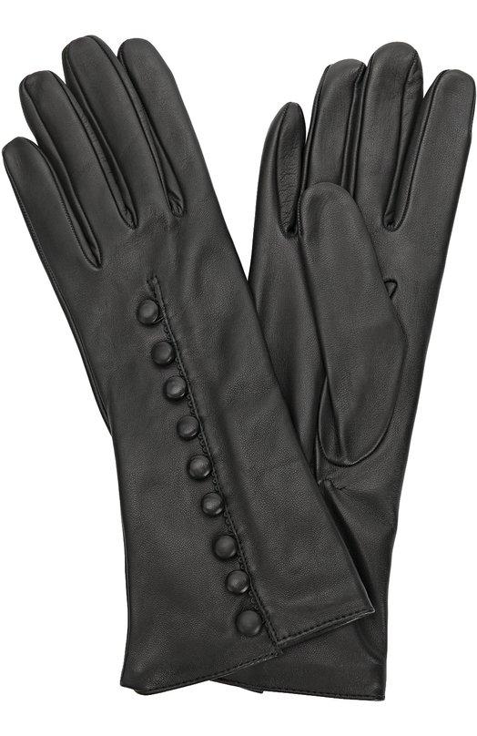 Кожаные перчатки с декоративными пуговицами Sermoneta GlovesПерчатки<br>Удлиненные черные перчатки, украшенные круглыми пуговицами, вошли в осенне-зимнюю коллекцию 2016 года. Мастера марки сшили аксессуар из эластичной матовой кожи. Модель с тонкой кашемировой подкладкой дополнена на запястье резинкой.<br><br>Российский размер RU: 7<br>Пол: Женский<br>Возраст: Взрослый<br>Размер производителя vendor: 7<br>Материал: Кожа натуральная: 100%; Подкладка-кашемир: 100%;<br>Цвет: Черный