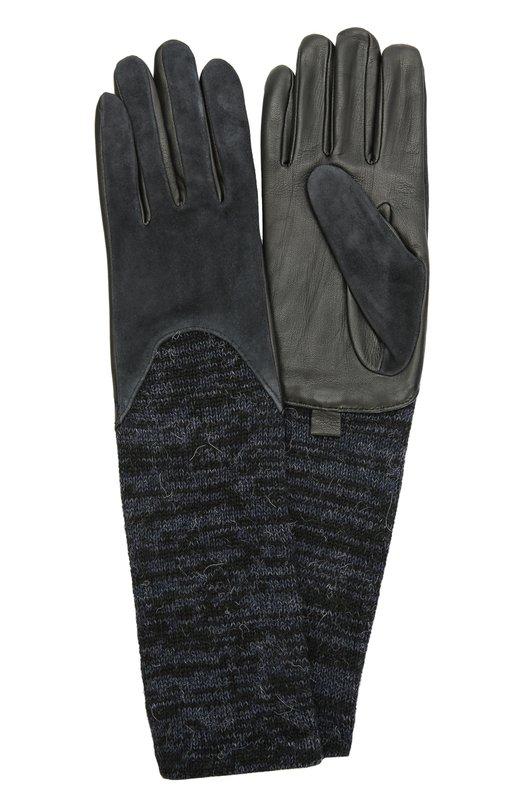Кожаные перчатки с отделкой из замши и вязаными манжетами AgnelleПерчатки<br>Мастера марки использовали для создания перчаток комбинацию нескольких материалов. Лицевая сторона сшита из бархатистой замши, тыльная – из мягкой матовой кожи. Аксессуар удлинен вязаными манжетами из шерсти альпака. Модель вошла в коллекцию сезона осень-зима 2016 года.<br><br>Российский размер RU: 6<br>Пол: Женский<br>Возраст: Взрослый<br>Размер производителя vendor: 6-5<br>Материал: Кожа натуральная: 60%; Замша натуральная: 40%; Шерсть альпака: 100%; Подкладка-шерсть альпака: 100%;<br>Цвет: Темно-синий