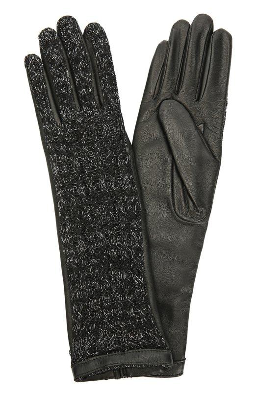 Удлиненные кожаные перчатки с отделкой из шерсти AgnelleПерчатки<br>Черные удлиненные перчатки Keiko, произведенные мастерами марки вручную, вошли в коллекцию сезона осень-зима 2016 года. Лицевая сторона связана из мягкой шерсти альпаки с добавлением металлизированной серебристой нити, тыльная сторона выполнена из мягкой матовой кожи ягненка.<br><br>Российский размер RU: 7<br>Пол: Женский<br>Возраст: Взрослый<br>Размер производителя vendor: 7-5<br>Материал: Кожа натуральная: 60%; Шерсть альпака: 40%; Подкладка-шерсть альпака: 100%;<br>Цвет: Черный
