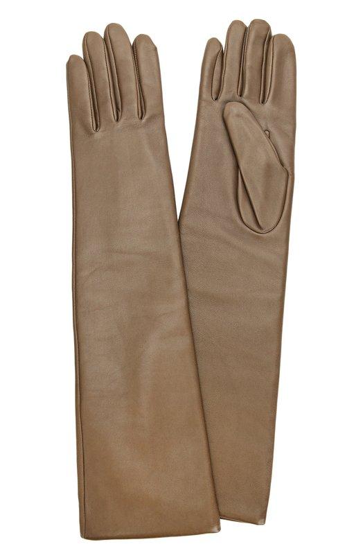 Купить Удлиненные кожаные перчатки с отделкой из шерсти Agnelle, 0PERA/A, Филиппины, Темно-бежевый, Кожа натуральная: 100%; Подкладка-шерсть альпака: 100%;