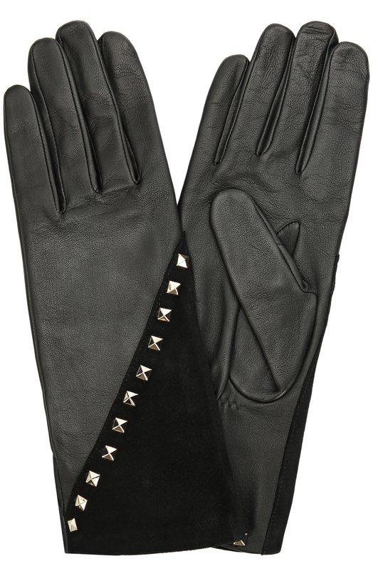 Кожаные перчатки с отделкой из замши и заклепками Agnelle C0RALIE/S