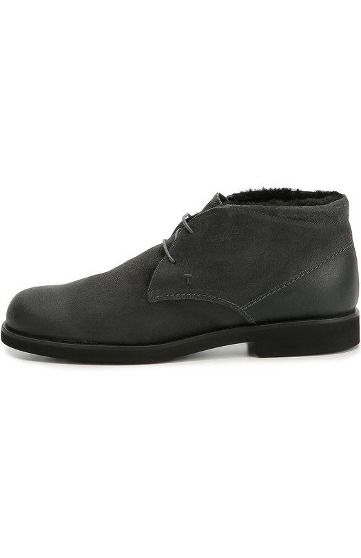 Купить Замшевые ботинки с внутренней отделкой из овчины Tod's, XXM0WP00D81SWX, Италия, Серый, Подошва-резина: 100%; Замша натуральная: 100%; Стелька-овчина: 100%;