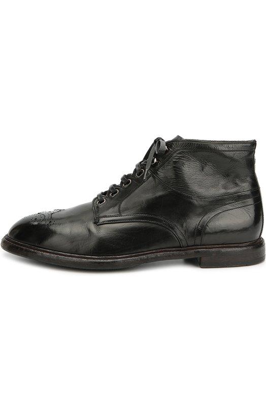 Кожаные полуботинки Marsala с брогированием Dolce &amp; GabbanaБотинки<br>Черные ботинки на широком каблуке выполнены из гладкой кожи с матовым блеском. Доменико Дольче и Стефано Габбана включили модель с перфорированным рисунком на зауженном мысе в коллекцию сезона осень-зима 2016 года.<br><br>Российский размер RU: 43<br>Пол: Мужской<br>Возраст: Взрослый<br>Размер производителя vendor: 43<br>Материал: Кожа натуральная: 100%; Стелька-кожа: 100%; Подошва-кожа: 100%; Подошва-резина: 100%;<br>Цвет: Черный