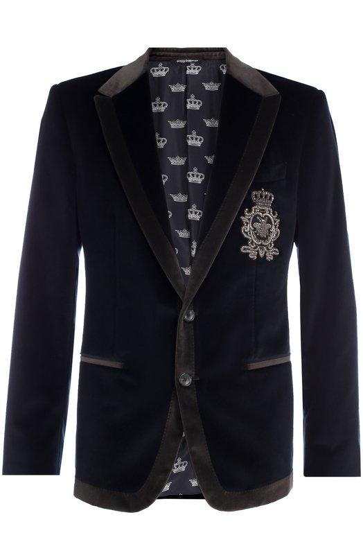 Бархатный пиджак с заостренными лацканами и нашивкой Dolce & Gabbana 0101/G2IV6Z/FUVCF