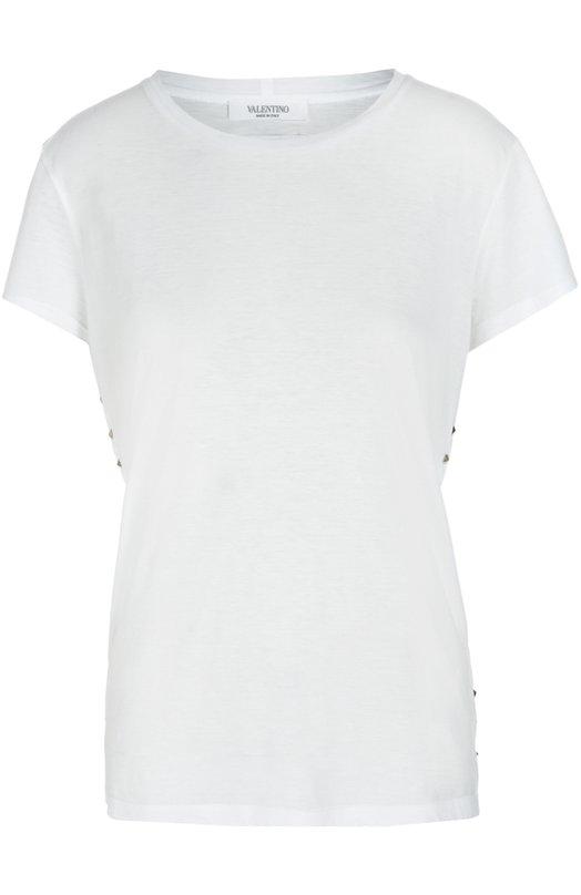 Купить Хлопковая футболка прямого кроя с заклепками Valentino, LB3MG02Z/2QJ, Италия, Белый, Хлопок: 100%;