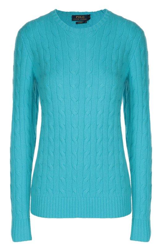 Купить Кашемировый пуловер фактурной вязки с круглым вырезом Polo Ralph Lauren, V39/ICJUL/W6996, Китай, Синий, Кашемир: 100%;