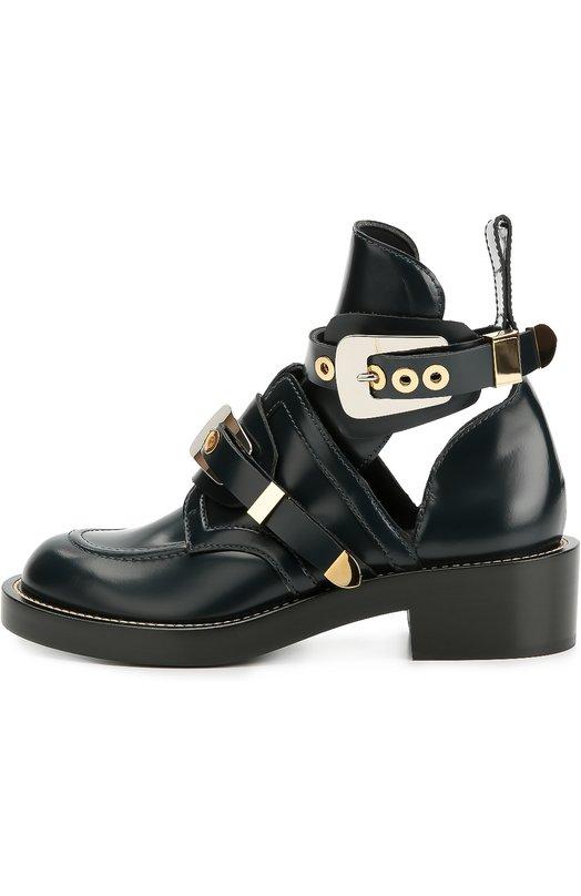 Кожаные ботинки с декорированными ремешками Balenciaga 326290/WART0