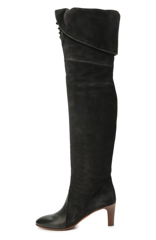 Замшевые ботфорты Kole с кожаным мысом и шнуровкой Chloe CH27309/E18