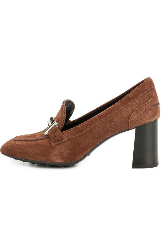 Замшевые туфли Gomma с пряжкой Tod'sТуфли<br>Коричневые туфли Gomma на устойчивом, расширяющемся книзу каблуке средней высоты вошли в коллекцию сезона осень-зима 2016 года. Мастера марки изготовили модель из фактурной прочной замши. Квадратный, чуть скошенный мыс декорирован хромированной пряжкой Double T в форме двух букв «Т».<br><br>Российский размер RU: 37<br>Пол: Женский<br>Возраст: Взрослый<br>Размер производителя vendor: 37-5<br>Материал: Стелька-кожа: 100%; Подошва-резина: 100%; Замша натуральная: 100%;<br>Цвет: Коричневый