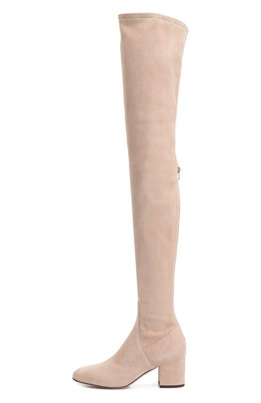 Замшевые ботфорты Stretch на устойчивом каблуке ValentinoСапоги<br>В осенне-зимнюю коллекцию марки, основанной Валентино Гаравани, вошли ботфорты-чулки из эластичной бархатистой замши бежевого цвета. Ею же обтянут устойчивый каблук. Плотно облегающая ногу модель Stretch застегивается сзади на молнию.<br><br>Российский размер RU: 39<br>Пол: Женский<br>Возраст: Взрослый<br>Размер производителя vendor: 39-5<br>Материал: Стелька-кожа: 100%; Подошва-кожа: 100%; Замша натуральная: 100%;<br>Цвет: Бежевый