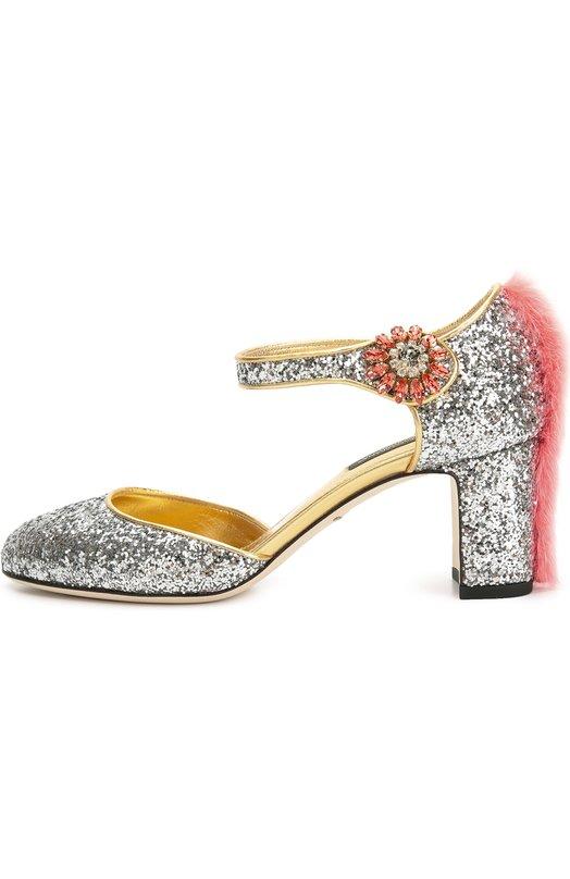 Туфли Vally с глиттером с меховой отделкой Dolce & Gabbana 0112/CD0645/A8I21
