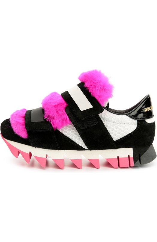 Комбинированные кроссовки Capri с меховой отделкой Dolce & Gabbana 0112/CK0084/AD835