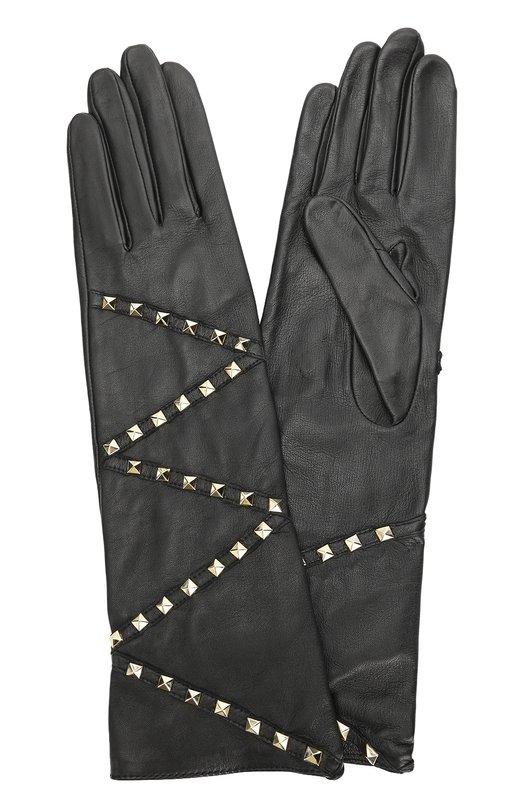 Кожаные перчатки с заклепками AgnelleПерчатки<br>Дизайнеры бренда выбрали для производства черных перчаток гладкую мягкую кожу с матовым блеском. Удлиненная модель из коллекции сезона осень-зима 2016 года декорирована позолоченными шипами-пирамидами.<br><br>Российский размер RU: 7<br>Пол: Женский<br>Возраст: Взрослый<br>Размер производителя vendor: 7-5<br>Материал: Подкладка-шелк: 100%; Кожа натуральная: 100%;<br>Цвет: Черный