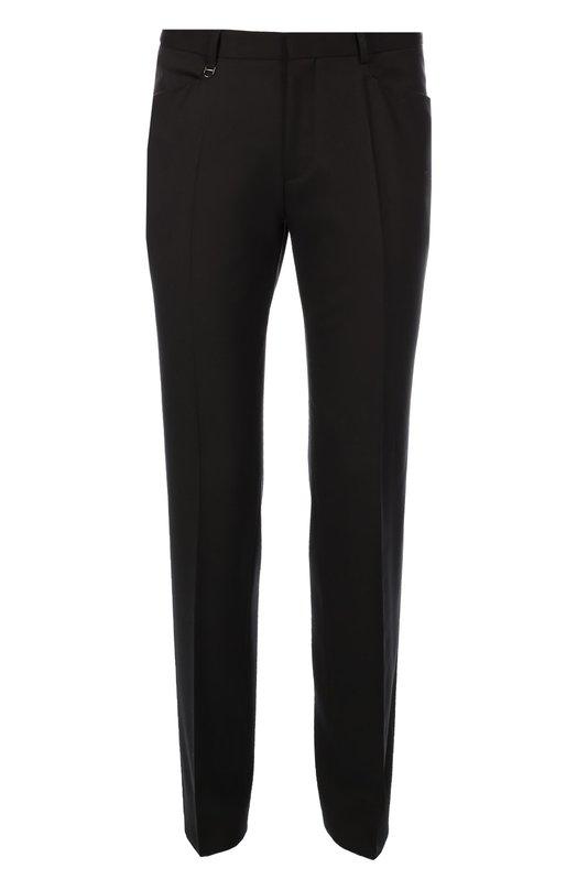 Классические шерстяные брюки зауженного кроя HUGOБрюки<br>Мастера бренда, основанного Хуго Фердинандом Боссом, выполнили черные брюки зауженного кроя из тонкой гладкой шерсти. Модель со стрелками вошла в коллекцию сезона осень-зима 2016 года. Нам нравится сочетать с джемпером и дерби в тон, а также с серым пальто.<br><br>Российский размер RU: 50<br>Пол: Мужской<br>Возраст: Взрослый<br>Размер производителя vendor: 50<br>Материал: Шерсть: 100%;<br>Цвет: Черный