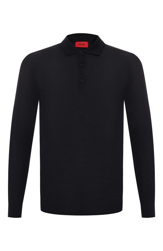 Шерстяное поло с длинными рукавами HUGOПоло<br>Дизайнер бренда, основанного Хуго Фердинандом Боссом, включил темно-синее поло с длинными рукавами в коллекцию сезона осень-зима 2016 года. Модель выполнена из мягкой плотной шерсти. Рекомендуем носить с джинсами, челси и пуховиком.<br><br>Российский размер RU: 52<br>Пол: Мужской<br>Возраст: Взрослый<br>Размер производителя vendor: XL<br>Материал: Шерсть: 100%;<br>Цвет: Темно-синий