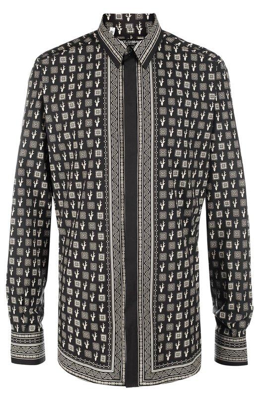 Хлопковая рубашка с принтом Dolce &amp; GabbanaРубашки<br><br><br>Российский размер RU: 41<br>Пол: Мужской<br>Возраст: Взрослый<br>Размер производителя vendor: 41<br>Материал: Хлопок: 100%;<br>Цвет: Черный