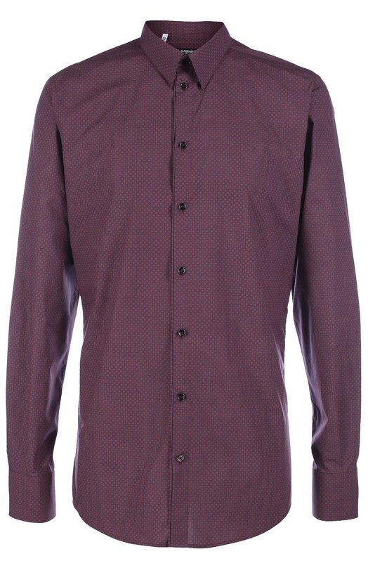 Хлопковая рубашка с узором Dolce &amp; GabbanaРубашки<br>Доменико Дольче и Стефано Габбана включили бордовую рубашку в осенне-зимнюю коллекцию 2016 года. Модель изготовлена из плотного хлопкового поплина, украшенного мелким паттерном. Наши стилисты советуют носить с темными джинсами, пальто и ботинками.<br><br>Российский размер RU: 42<br>Пол: Мужской<br>Возраст: Взрослый<br>Размер производителя vendor: 42<br>Материал: Хлопок: 100%;<br>Цвет: Бордовый