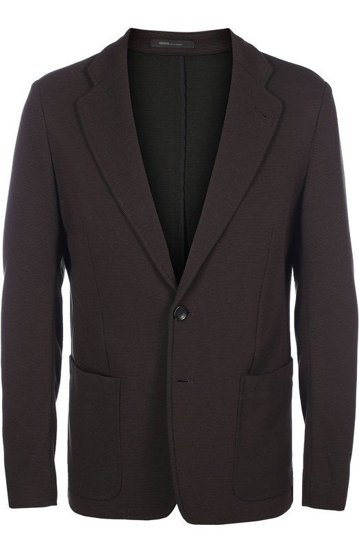 Однобортный пиджак в мелкую полоску Armani CollezioniПиджаки<br>Мастера марки, основанной Джорджио Армани, изготовили темно-коричневый пиджак из мягкой смешанной вискозы в тонкую горизонтальную полоску. Однобортная модель с двумя боковыми накладными карманами вошла в коллекцию сезона осень-зима 2016 года.<br><br>Российский размер RU: 52<br>Пол: Мужской<br>Возраст: Взрослый<br>Размер производителя vendor: 52-R<br>Материал: Вискоза: 80%; Подкладка-ацетат: 68%; Подкладка-полиэстер: 32%; Эластан: 3%; Полиамид: 17%;<br>Цвет: Темно-коричневый