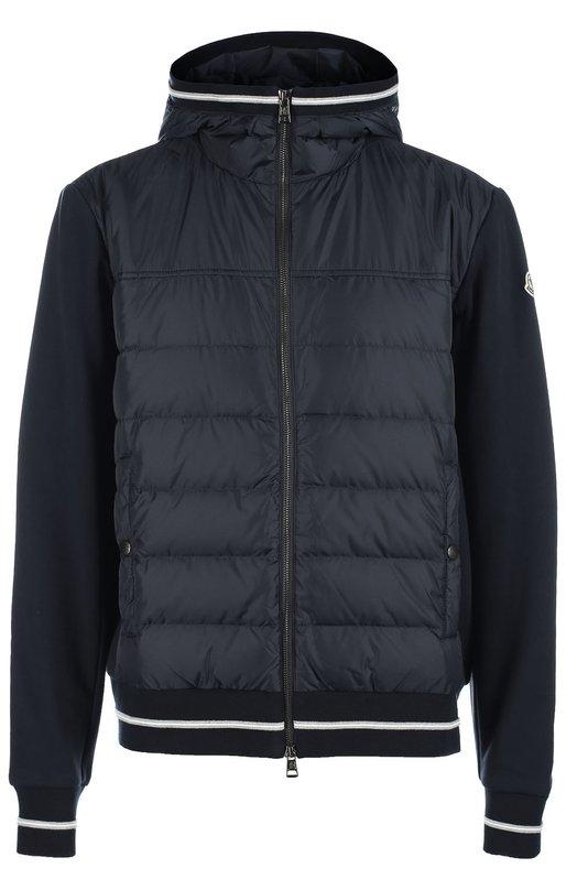 Стеганый пуховик с хлопковыми рукавами MonclerКуртки<br>Темно-синяя куртка с капюшоном и двумя карманами вошла в коллекцию сезона осень-зима 2016 года. Передняя полочка из тонкого стеганного нейлона утеплена утиным пухом. Спинка и длинные рукава выполнены из плотного мягкого хлопка. Модель застегивается на двойную молнию.<br><br>Российский размер RU: 48<br>Пол: Мужской<br>Возраст: Взрослый<br>Размер производителя vendor: M<br>Материал: Пух: 90%; Хлопок: 100%; Полиамид: 100%; Подкладка-полиамид: 100%; Перо: 10%;<br>Цвет: Темно-синий